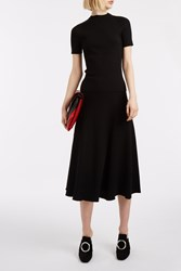Rosetta Getty Ribbed Flared Skirt Black