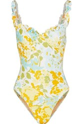 Faithfull The Brand Hilda Ruffled Floral Print Underwired Swimsuit Blue