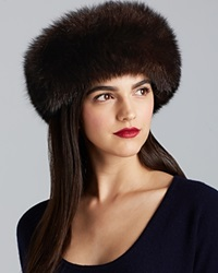 Surell Fox Fur Collar Headband Brown