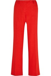 Altuzarra Tom Slub Stretch Crepe Flared Pants Tomato Red
