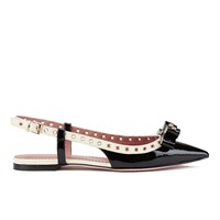 Red Valentino Redvalentino Women's Eyelet Bow Slingback Pointed Toe Flats Black And White