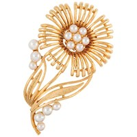 Susan Caplan Vintage Bridal 1960S Lisner Gold Plated Faux Pearl Flower Brooch Gold Pearl