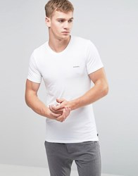 Diesel Logo Crew Neck T Shirt In Stretch Cotton White White