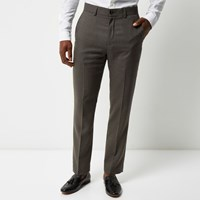 River Island Mens Grey Tailored Suit Trousers