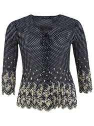 Chesca Spot Crush Pleated Blouse Navy