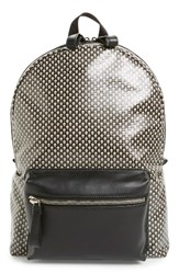 Alexander Mcqueen Men's Skull Print Coated Canvas Backpack With Leather Trim Black Multicolor Black