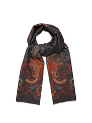 Paul Smith Monkey Print Wool And Cashmere Blend Scarf Black Multi