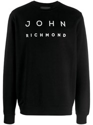 John Richmond Contrast Logo Jumper Black