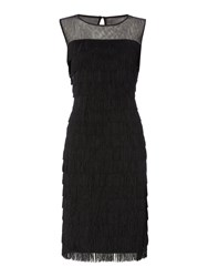 Linea Layered Fringe Dress Black