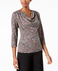 Msk Glitter Cowl Neck Top Taupe Multi