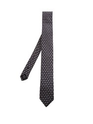 Dolce And Gabbana Geometric Print Silk Tie Black Multi
