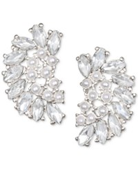 Jewel Badgley Mischka Crystal And Imitation Pearl Arch Stud Earrings Silver