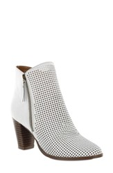 Mia Riya Perforated Bootie White Leather