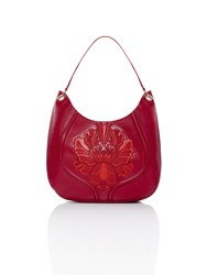 Shanghai Tang Peony Plate Embroidery Leather Hobo Ruby