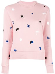 Etre Cecile Embroidered Figures Jumper Pink Purple