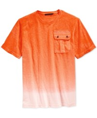 Sean John Men's Dip Dye Ombre Flight T Shirt Vibrant Orange