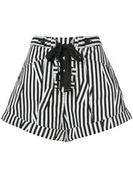Self Portrait Lace Up Front Striped Shorts Black