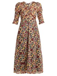 Masscob Mina Rose Print Cotton Midi Dress Multi