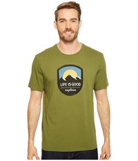 Life Is Good Explore Mountains Smooth Tee Tree Green T Shirt Taupe