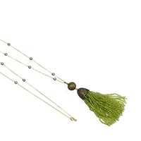 Latelita London Tassel Ball Necklace Peridot Gold Green