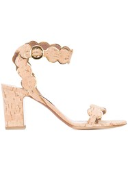 Tabitha Simmons Gold Mirror 'Cloud' Sandals Women Cork Calf Leather Leather 39.5 Nude Neutrals