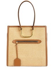 Alexander Mcqueen The Tall Story Raffia And Leather Tote Natural