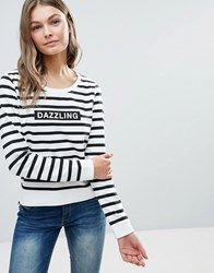 Only Dazzling Micka Logo Stripe Sweatshirt Cloud Dancer White