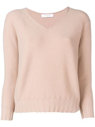 Cruciani Cropped V Neck Sweater Nude And Neutrals