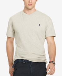 Polo Ralph Lauren Men's Big And Tall Classic Fit V Neck Short Sleeve Cotton Jersey T Shirt New Heather Grey