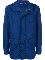 Canali Detachable Hood Rain Jacket Blue