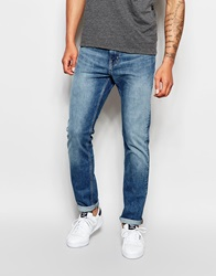 Weekday Jeans Sunday Drop Crotch Slim Tapered Fit Cotton Blue Mid Wash Cottonblue