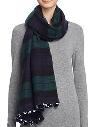 Aqua Color Block Scarf With Pom Poms 100 Bloomingdale's Exclusive Navy Green