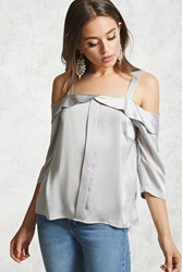 Forever 21 Contemporary Satin High Low Top Grey