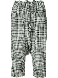 Forme D'expression Gingham Drop Crotch Cropped Trousers White