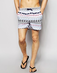 Another Influence Swim Shorts In Aztec Print Blue