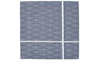 Simonnot Godard Men's Geometric Cotton Jacquard Handkerchief Navy White