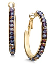 Inc International Concepts Gold Tone Mauve Stone Medium Hoop Earrings Only At Macy's