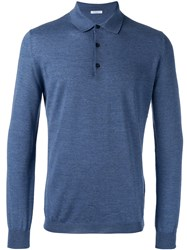 Boglioli Heathered Polo Shirt Blue