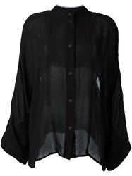 Lost And Found Ria Dunn Collarless Button Down Shirt Black