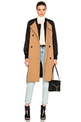 3.1 Phillip Lim Bomber Trench Coat In Black Brown Black Brown