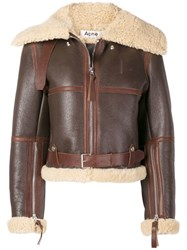 Acne Studios Midsize Shearling Jacket Brown