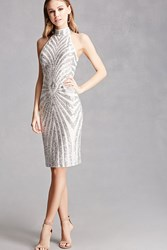 Forever 21 Sequined Chevron Bodycon Dress Silver