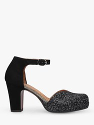 Chie Mihara Maho 33 Block Heel Two Part Court Shoes Black Leather