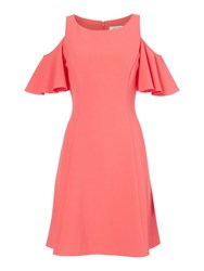 Eliza J Fit And Flare Cold Shoulder Dress Coral