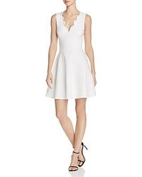 Aqua Scalloped V Neck Fit And Flare Dress 100 Exclusive White