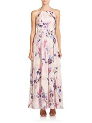 Phoebe Couture Pleated Floral Gown Pink Multi