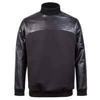 W.S. Studio Faux Leather Mixed Cotton Top Black