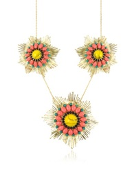 Les Nereides Gypsunset 3 Suns Pink And Yellow Necklace