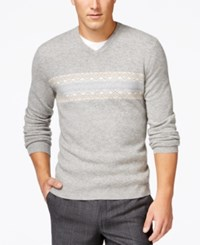 Club Room Big And Tall Fair Isle Cashmere V Neck Sweater Only At Macy's Grey Heather