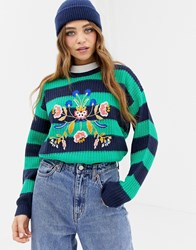 Brave Soul Bouquet Stripe Jumper With Embroidery Navy Green